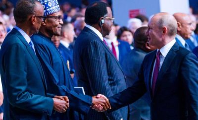 Photos: President Buhari meets President Putin at Russia -Africa Economic Forum
