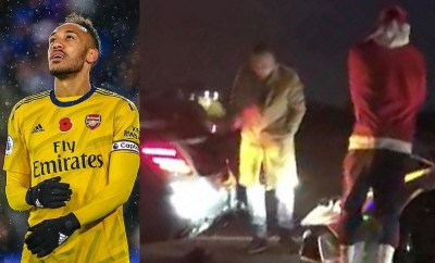 Arsenal star Pierre-Emerick Aubameyang involved in motorway crash while driving his ?270k Lamborghini?(Photos)