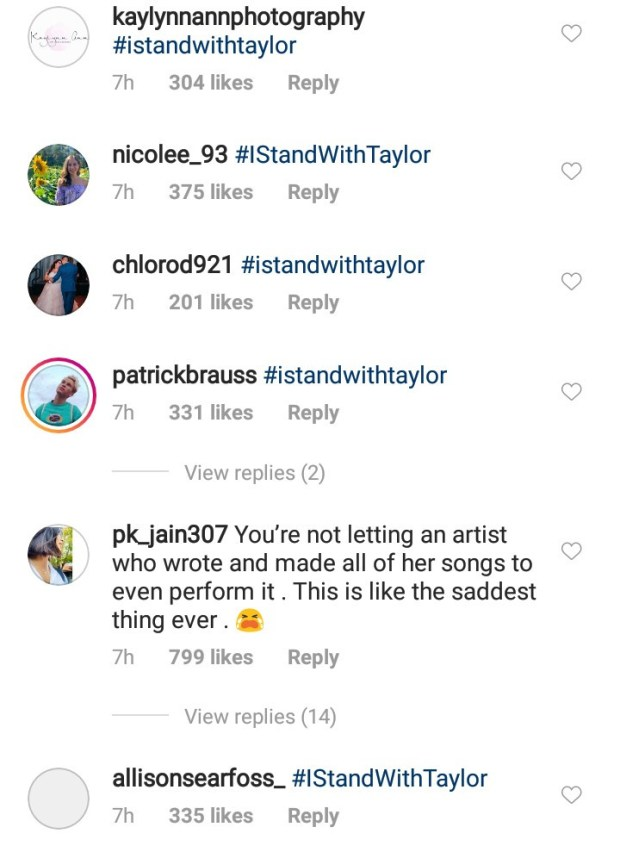 Taylor Swift posts lengthy note claiming her former label wont let her perform her early music at the AMAs