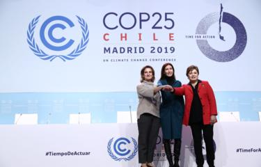 From left, Spain's minister for the ecological transition, Teresa Ribera, COP President Carolina Schmidt and UN climate chief Patricia Espinosa