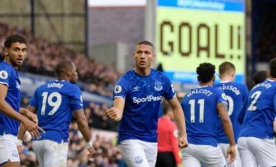 Richarlison celebrates Everton's opening goal against Chelsea