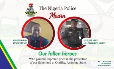 Police releases names of officers killed by IPOB members during raid at home of Nnamdi Kanu