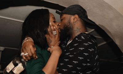 Davido shares photo of himself passionately kissing his partner, Chioma