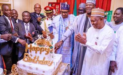 Photos: President Buhari celebrates 77th birthday in the state house