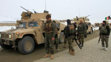 Afghan national army soldiers at site of crash