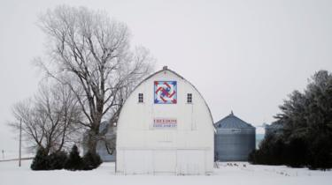 "The sign on the side of a barn reads ""Freedom. Vote For It"" in Cola, Iowa, U.S., January 28, 2020."