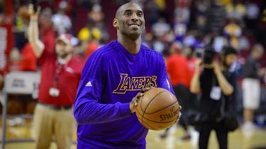 Apr 10, 2016; Houston, TX, USA; Los Angeles Lakers forward Kobe Bryant warms up before a game