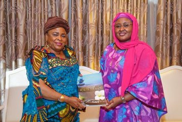 Patience Jonathan visits Aisha Buhari (photos)