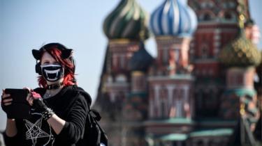 Woman near Kremlin