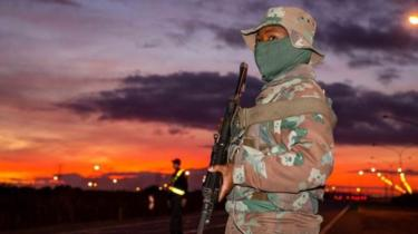 Soldier on the road in South Africa on 14 April