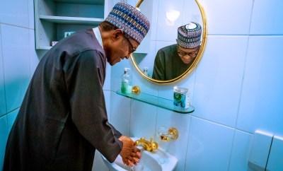 Coronavirus:  Presidency releases photos of President Buhari washing his hands