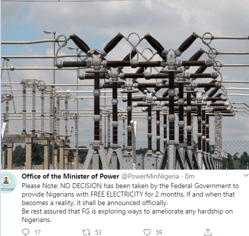 """""""No decision has been taken by the Federal Government to provide Nigerians with free electricity for 2 months"""" Power Ministry says"""