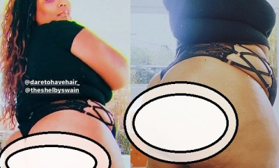 Lizzo flaunts her backside in thong underwear (photos)