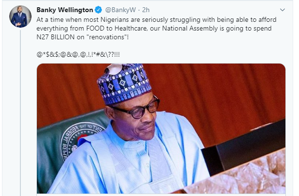 Banky W and Femi Kuti slam FG for giving N27bn to National Assembly for renovation after significantly slashing education and health budget