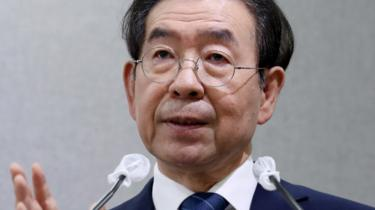 Seoul Mayor Park Won-soon speaks during an event at Seoul City Hall in Seoul, South Korea, July 8, 2020.