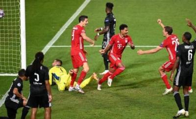 Serge Gnabry scores for Bayern Munich against Lyon