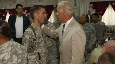 Joe Biden and his son Beau in 2009 in Iraq.