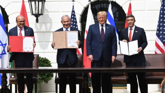 Bahrain's foreign minister, Israel's PM, US President Donald Trump and the UAE's foreign minister