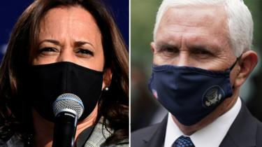 Democratic Senator Kamala Harris (L) and US Vice-President Mike Pence