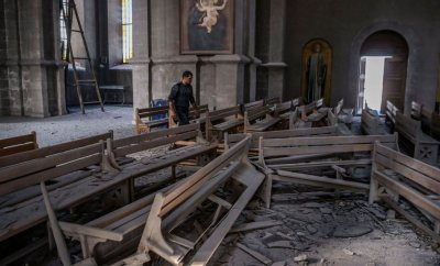 Rubble inside the Holy Saviour Cathedral in Shusha, Nagorno-Karabakh on 8 October 2020