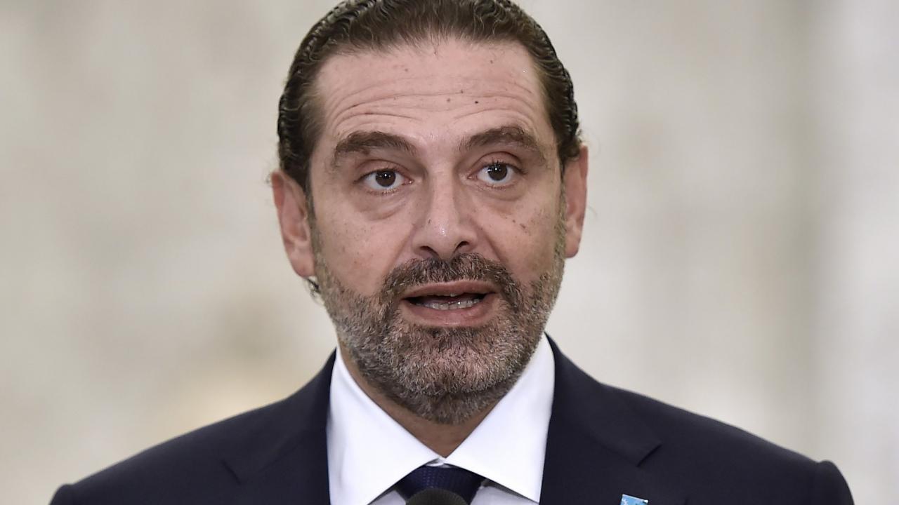 Saad Hariri speaks to reporters at the Baabda palace on 22 October 2020