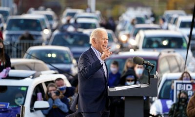 U.S. Democratic presidential candidate Joe Biden speaks during a drive-in campaign event at Dallas High School in Dallas, Pennsylvania, U.S., October 24, 2020