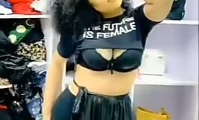 """Bobrisky shows off his """"boobs"""" while rocking a crop top with the words """"The Future Is Female"""" (video)"""