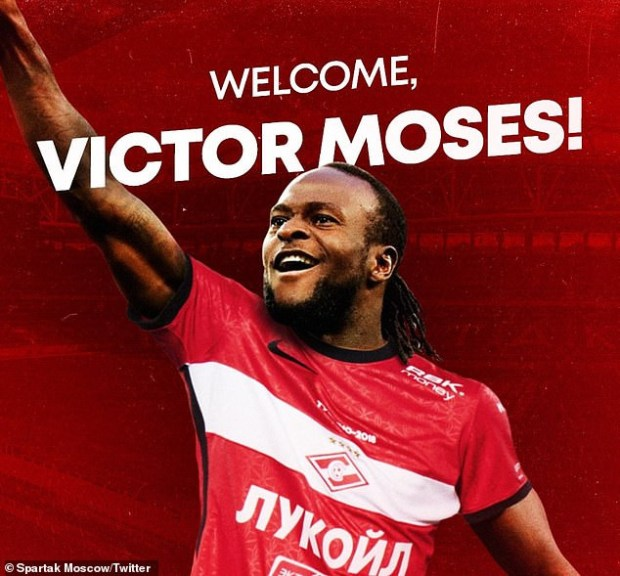 Nigerian winger, Victor Moses joins Spartak Moscow on season-long loan from Chelsea
