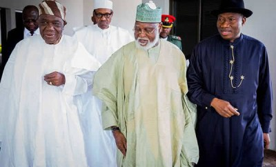 Insecurity: President Buhari in a closed door meeting with Goodluck Jonathan, Obasanjo, other former leaders