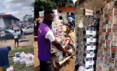 Osun state residents cart away COVID19 palliatives stored in the Cocoa Processing Industry warehouse (videos)