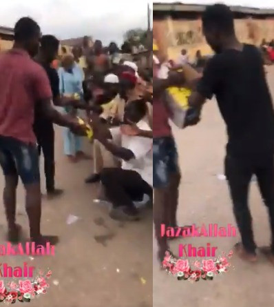 Residents distribute COVID19 palliatives carted away from a warehouse to beggars (video)