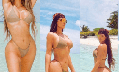 """This is 40"" - Reality star, Kim Kardashian says as she shares new bikini photos"