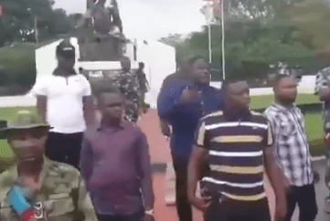 "Cross River State Governor, Ben Ayade seen ""behind layers of security"" as he addresses his people following days of vandalism (video)"