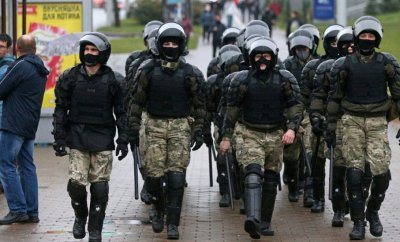 Belarus riot police in Minsk, 11 Oct 20