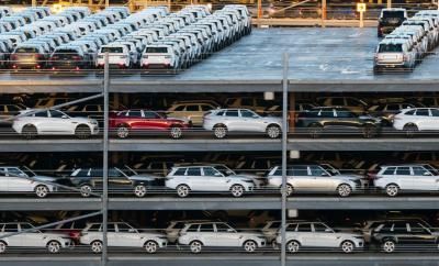 New cars in Southampton waiting to be exported