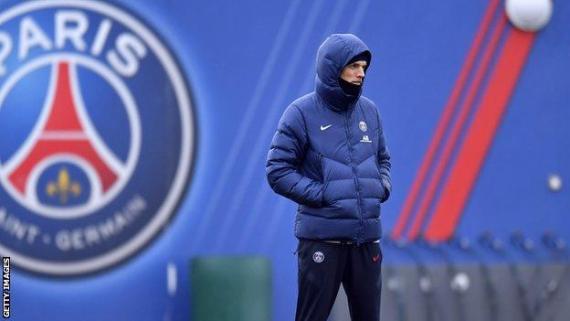 Thomas Tuchel looks on during a Paris Saint-Germain training session on 21 December