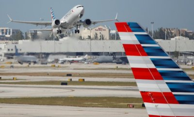 American Airlines flight 718, the first U.S. Boeing 737 MAX commercial flight since regulators lifted a 20-month grounding in November, takes off from Miami, Florida, U.S. December 29, 2020