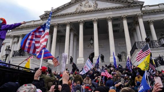 """Crowds gather outside the U.S. Capitol for the """"Stop the Steal"""" rally on 6 January, 2021"""