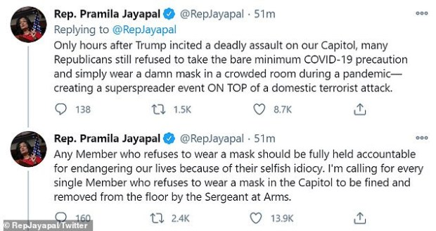 Rep. Pramila Jayapal tests positive for COVID-19 after sheltering with lawmakers who refused to wear masks during U.S. Capitol riot
