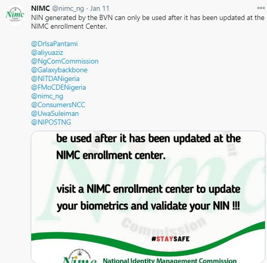 NIN generated from BVN record is invalid - NIMC says; tells Nigerians to visit an enrollment centre to complete NIN registration