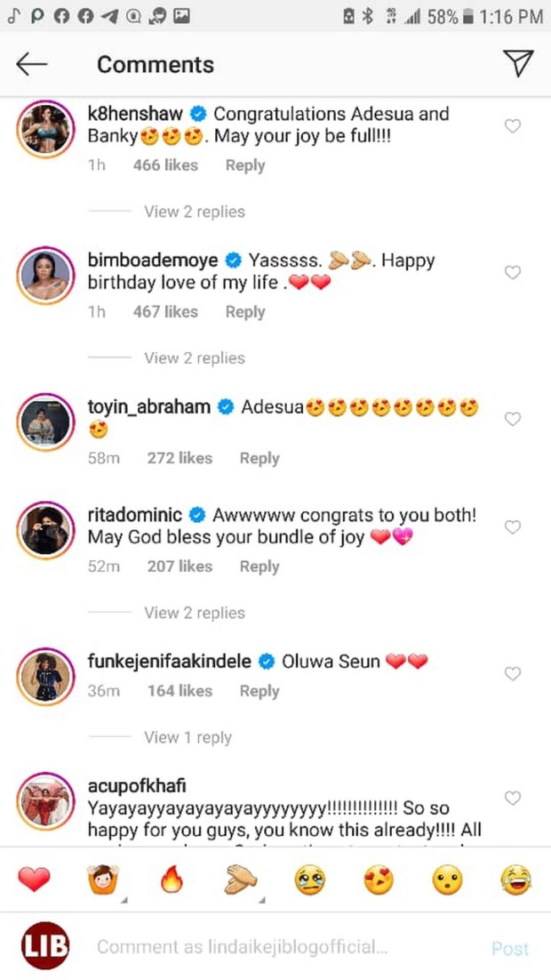 Ebuka, Toke Makinwa, Mo Abudu, others congratulate Banky W and Adesua Etomi on the birth of their first child