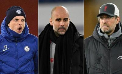 Chelsea manager Thomas Tuchel (left), Manchester City boss Pep Guardiola and Liverpool manager Jurgen Klopp