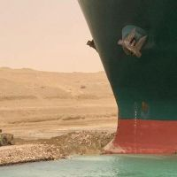 In Pictures: Container Ship Blocks Egypt's Suez Canal