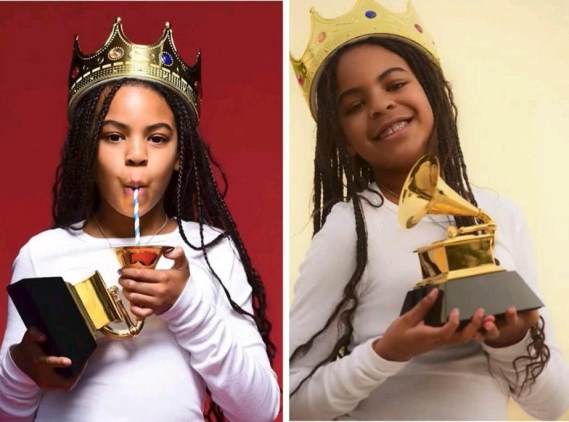 Blue Ivy pictured drinking from her Grammy Award plaque