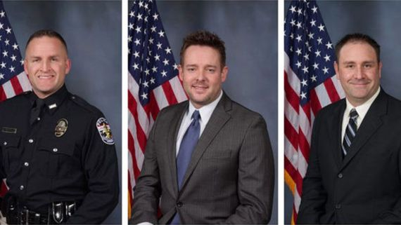 From left: Brett Hankison, Jonathan Mattingly and Myles Cosgrove