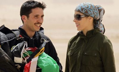"Jordanian Prince Hamzah bin al-Hussei, president of the Royal Aero Sports Club of Jordan, and his wife Princess Basma attend a media event to announce the launch of ""Skydive Jordan"", in the Wadi Rum desert on April 19, 2011"