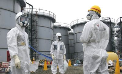 Workers at the Fukushima plant