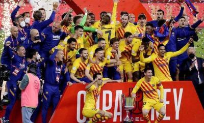 Barcelona celebrate Copa del Rey win
