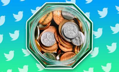 An illustration of a tip jar filled with pound sterling coins is seen from a top-down view, against a birght green-blue background filled with Twitter logos
