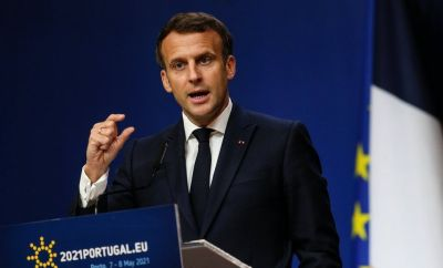 French President Emmanuel Macron attends a press conference at the end of an Informal Meeting of EU Heads of State and Government held at Palacio de Cristal in Porto, Portugal May 8, 2021.